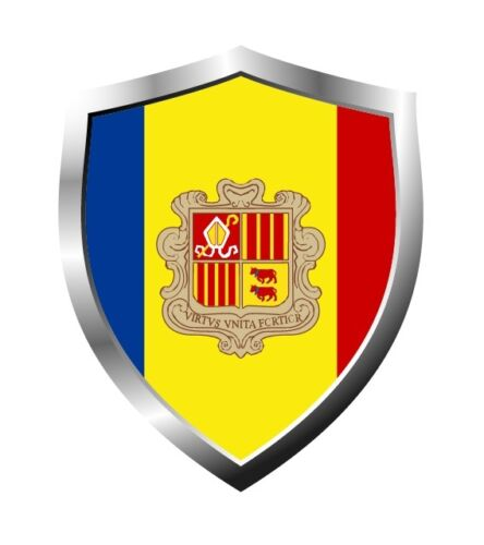 Andorra country shield flag sticker vinyl decal