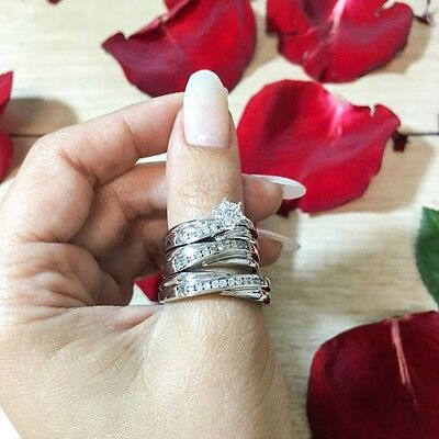 HEAVY 14K White Gold His Hers Trio Matching Diamond Wedding Engagement Ring Set