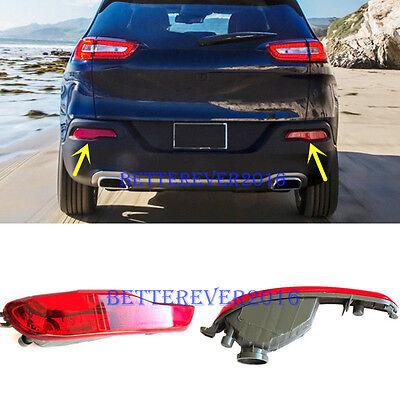 2Pcs Rear Bumper Reflector Fog Light Lamp Cover fit Jeep Cherokee 2014-2018