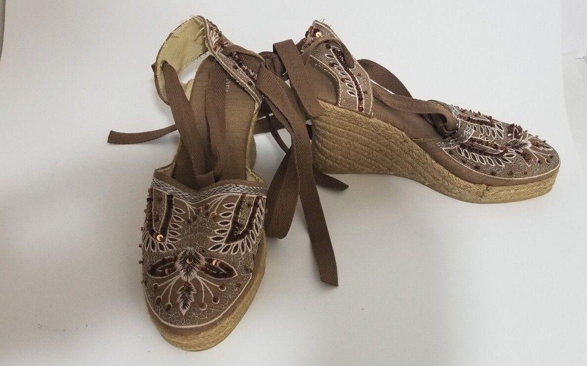 Adela Gil Women's Lace Up Wedge Sandals US Size 7.5 EU Size 38