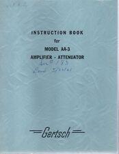 Original Gertsch Model Aa 3 Amplifier Attenuator Instruction Book