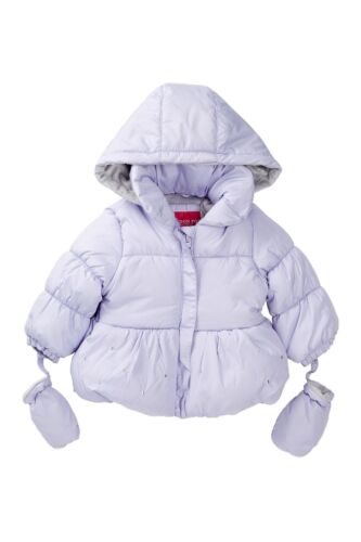 London Fog Puff Jacket With Attached Mittens Sz 12M $72 Baby Girls