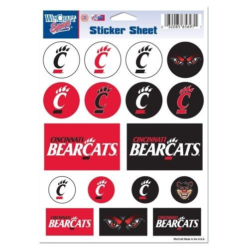 Decal Sheet *Free Shipping Cincinnati Bearcats Vinyl Die-Cut Sticker Set