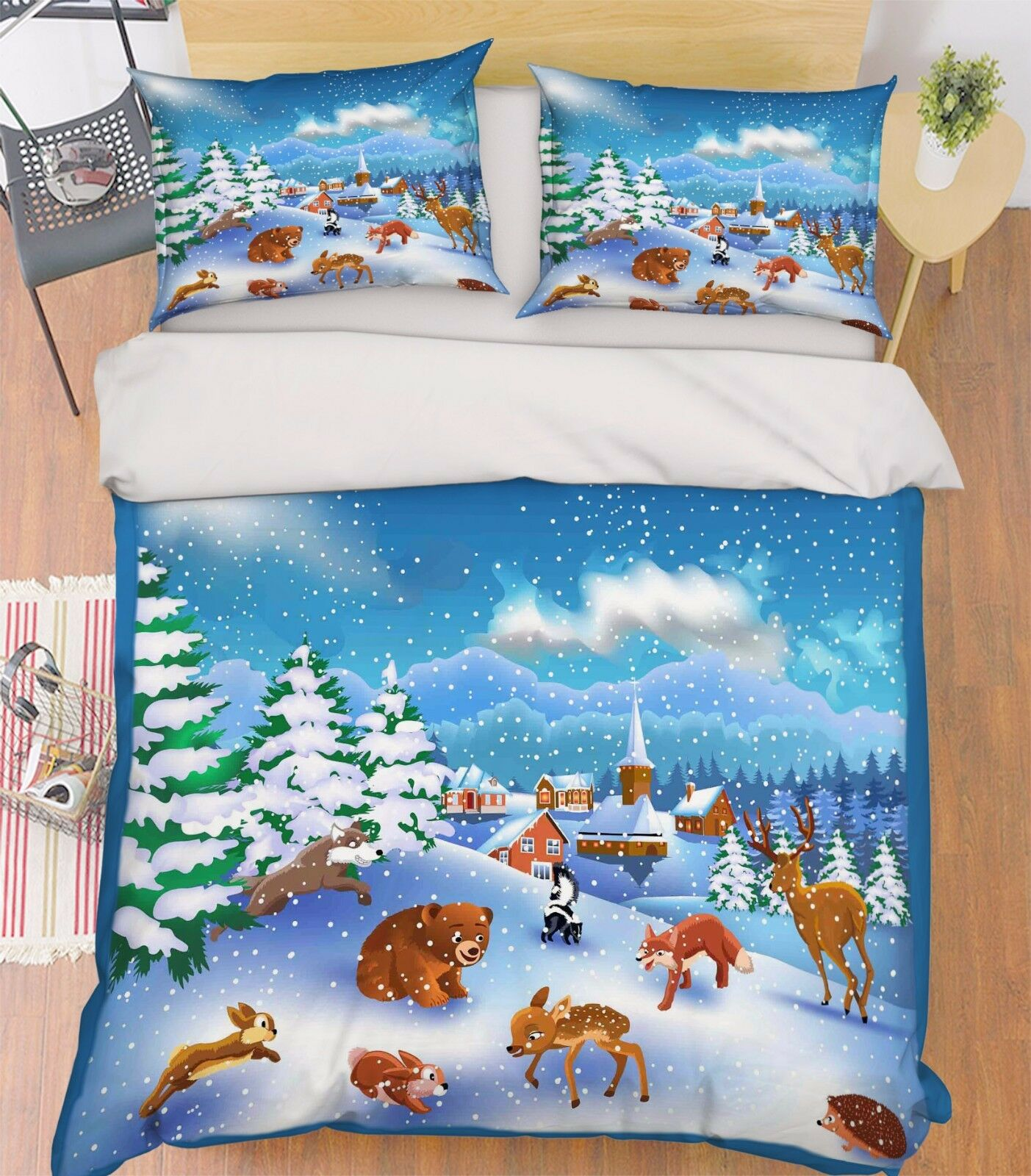 3D Snowflake Animal Town 6 Bed Pillowcases Quilt Duvet Cover Set Single Queen CA