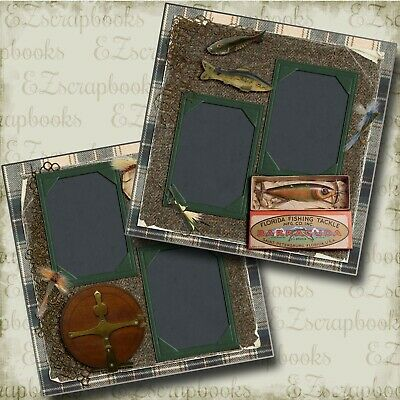 EZ Layout 2629 Premade Scrapbook Pages HOOKED ON FISHING Non-Photo-Mat
