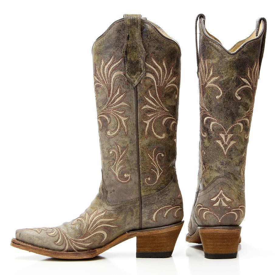 CIRCLE G BY CORRAL GREEN FILLIGREE SNIP TOE BOOTS STYLE L5133 NEW IN BOX!