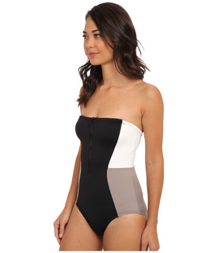 DKNY COLOR BLOCK BANDEAU MAILLOT ONE PIECE STRAPLESS SWIMSUIT BLACK SIZE 8 $114