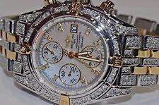 Mens Breitling Chronomat Evolution 18K Gold MOP Pearl Diamonds Everywhere