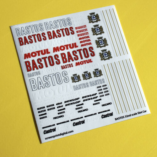 SLOT car SCALEXTRIC 1//32nd /'BASTOS/' Rally Race car sponsor stickers decals 1:32