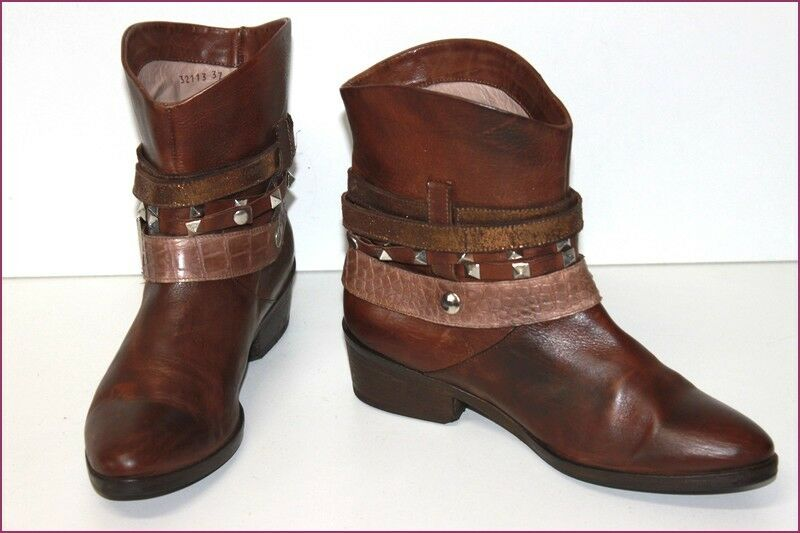 Janet & Boots all Brown Leather Cognac Webbing Straps T 37 Very Good Condition