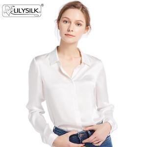 453a744b9f6f86 LilySilk Women's 100 Silk Blouse Long Sleeve Shirt 22 Momme Pure ...