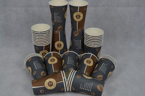 200 Kaffeebecher 0,3L Bohne Coffee to Go Becher Pappbecher Kaffee Tee 12 Oz Neu
