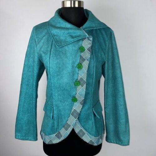 Misslook Teal Herringbone Blazer Jacket M