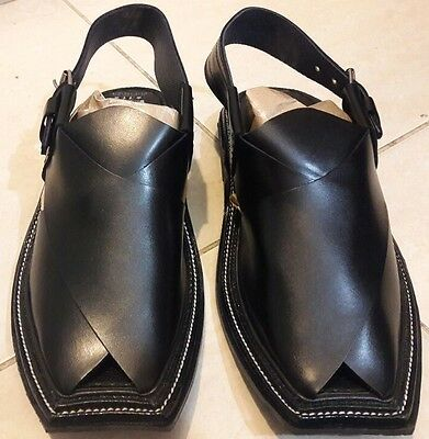 Pesahawari Handmade Leather Charsaddah Chappal Black Eid Men's Pakistan Sandal To Make One Feel At Ease And Energetic Clothing, Shoes & Accessories Sandals