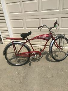 1957 Schwinn Mark II JAGUAR Beach Cruiser Red & White Men's Vintage Bicycle