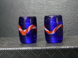 """(eC034)  Tibet:   2  Old  glass  Beads. """"blue cobalt"""""""