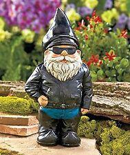 Biker Garden Gnome Statue By Besti - Outdoor Garden Figurine In Motorcycle Le...