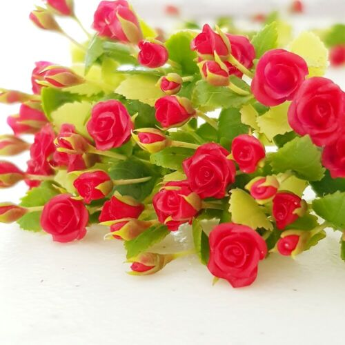 10x Red Rose Clay Flower Miniature Dollhouse Handcrafted Mini Fairy Garden Lot