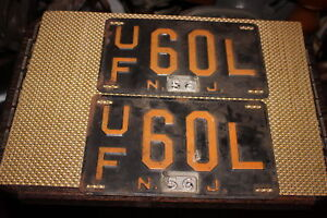 Antique-Retired-NJ-License-Plates-1956-Matching-Pair-UF60L-Automobile