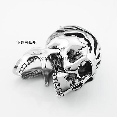 Mens Punk Rock Stainless Steel Skull Bone Skeleton Pendant Necklace Jewellry