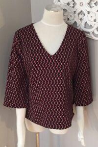 Ann-Taylor-Boxy-Knit-Top-Retro-Style-Shirt-3-4-Sleeve-Women-s-Size-M