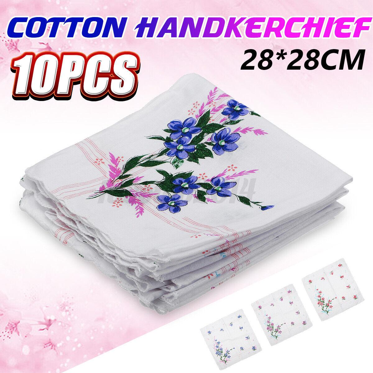 10Pcs 28x28cm Retro Cotton Floral Handkerchief Hankies Hanky Ladies Women Crafts