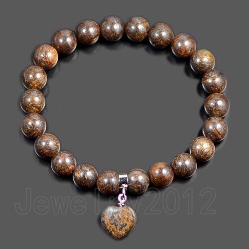 Natural Gemstone Coeur 8 mm Perles Rondes Extensible Bracelet Guérison Chakra Yoga