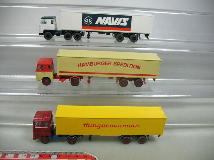 AB164-0,5x Wiking H0 LKW Sattelzug  Scania Navis+Spedition, Hungarocamio, TOP