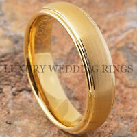 Tungsten Ring Brushed 18k Gold Wedding Band For Men Or Women Jewelry Size 6-13