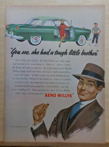 1953 magazine ad for Willys  - green Aero Willys built tough like little brother