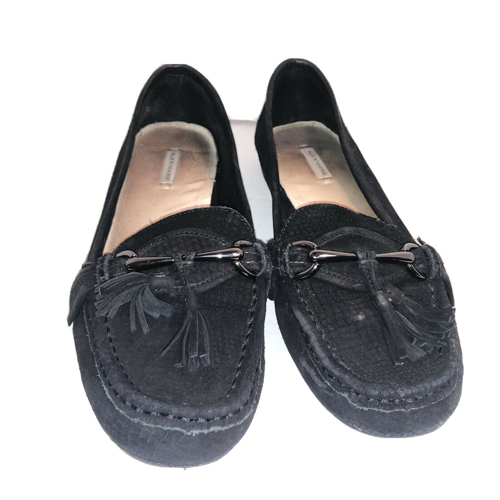 Alex Marie Loafers Black Slip On With Tassel Bow Size 8M