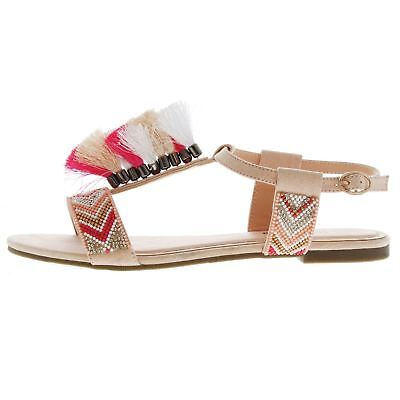 Womens SoulCal Tassle Sandals Flat Buckle Fastening Colourful New