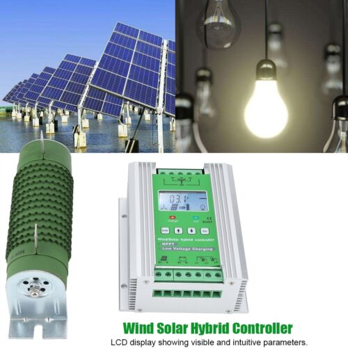 LCD Wind Solar Hybrid Charge Controller MPPT Boost Charge 12//24V Auto 600W 800W
