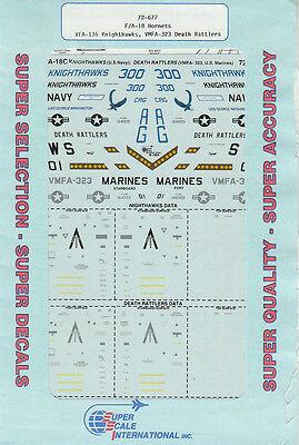 1//72 SuperScale Decals F-18C Hornet VFA-136 VMFA-323 Knighthawks 72-677