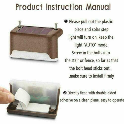 1/2/4X Solar Powered Fence Deck Lights Wall Step Stairs Outdoor ...