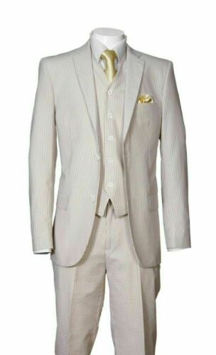 Executive Fit Striped Seersucker Suit 2-Button Single Breasted 3-PC w//Vest/&pants