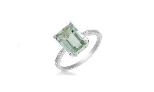 Women/'s Sterling Silver Genuine Green Amethyst Ring