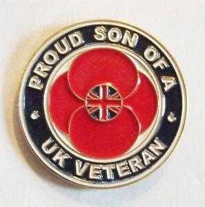 PROUD SON OF A UK VETERAN LAPEL PIN OR WALKING STICK MOUNT