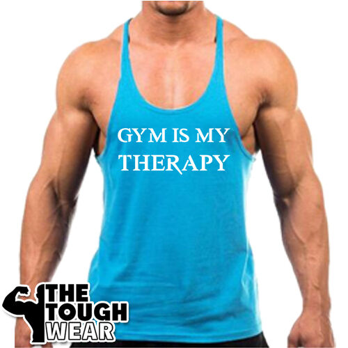 GYM IS MY THERAPY Men/'s Tank Top Bodybuilding Stringer c303 Gym Singlets
