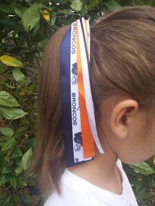 Team colors ribbon ponytail holder pony o made with denver broncos