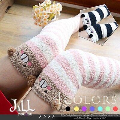 Japan lolita fairytale Marble Zoo wonderland knee high fleece bed socks J3C014