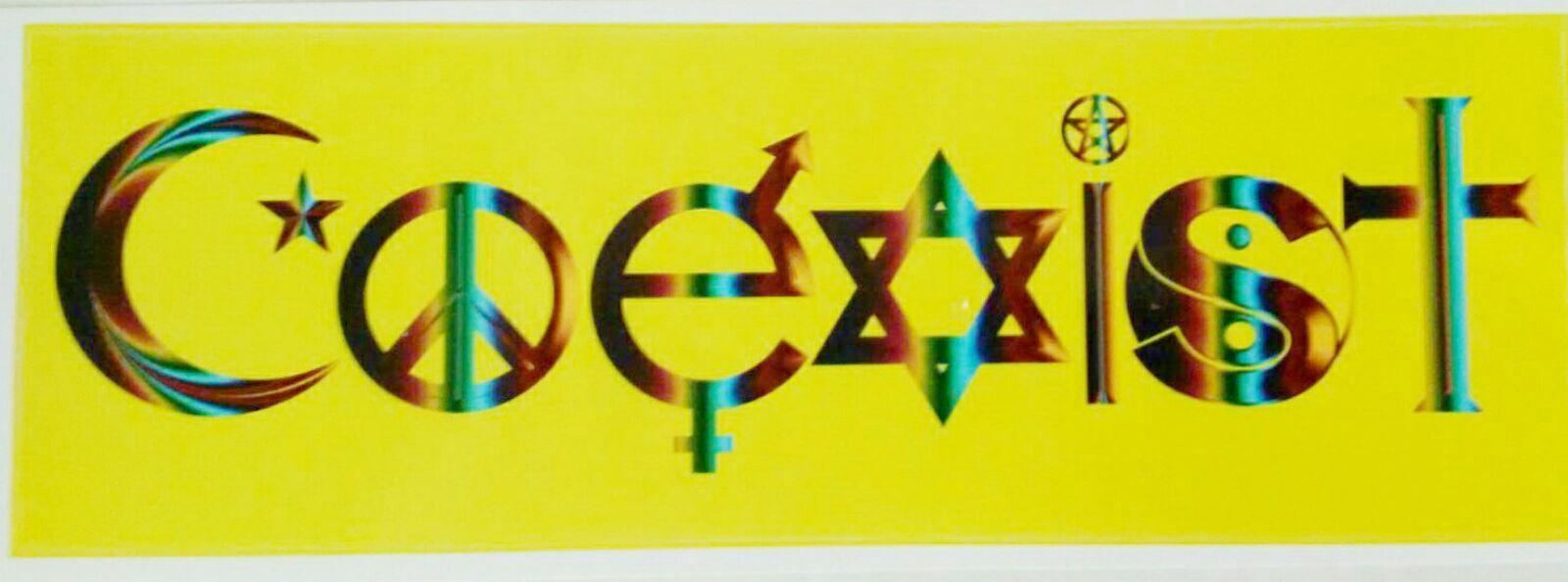Bumper Sticker Coexist Symbols Peace Evolution Harmony Rainbow Style