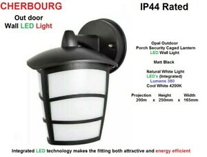 CHERBOOURG-LED-Wall-Light-in-Matt-Black-amp-Opal-Outdoor-Porch-Caged-Lantern-IP44