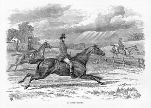HORSES, DOGS, HOUNDS, FOX HUNTING, A GOOD START, FENCE