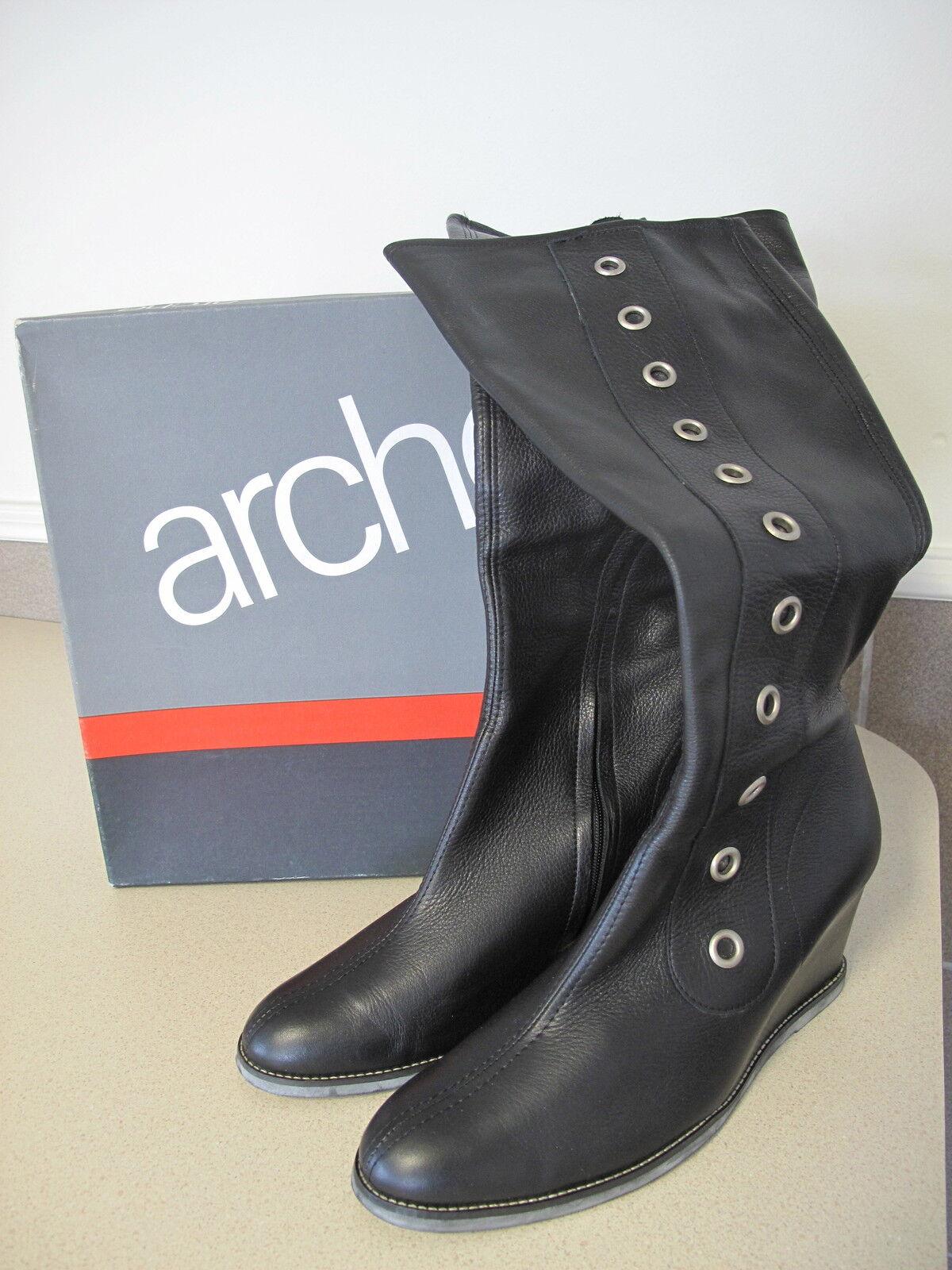 Women's ARCHE Boots Black Platform sz 8 Eur 39 made FRANCE in Box