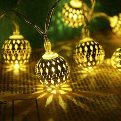LED Solar Kugel Lichterkette Garten Außen Outdoor Beleuchtung Lampe Party Licht