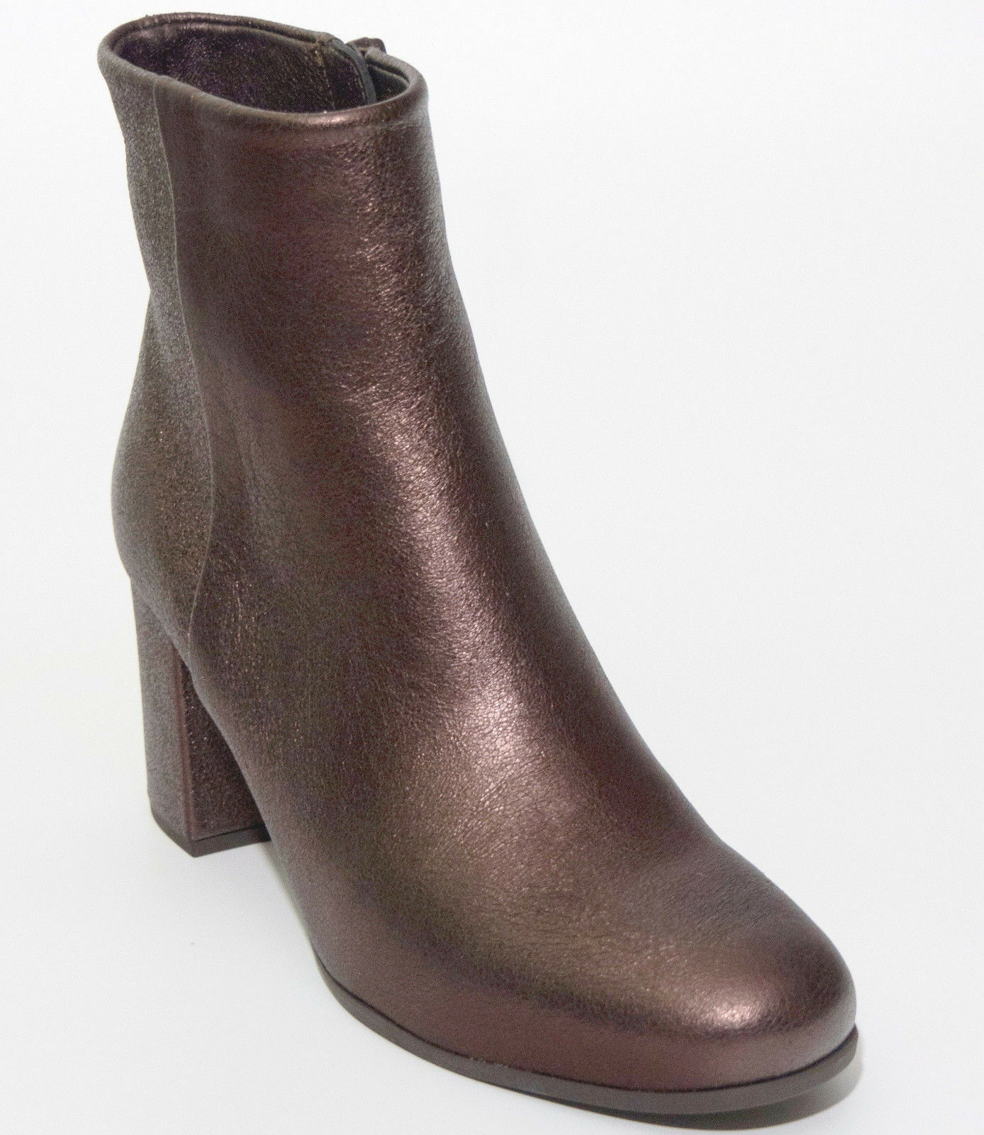 Unisa Ankle bota 38 Leather Copper marrón Metalic Gloss botas Made Spain zapatos New