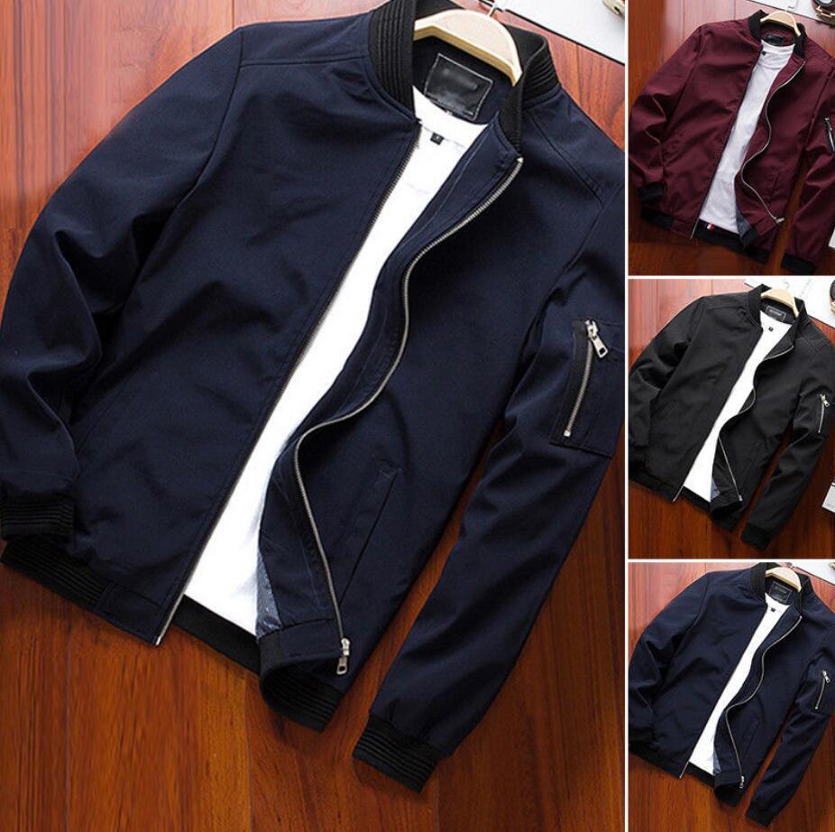 Men'S Zipper Business Jacket Fight Bomber Coat Thin Autumn Baseball Outwear CA 11