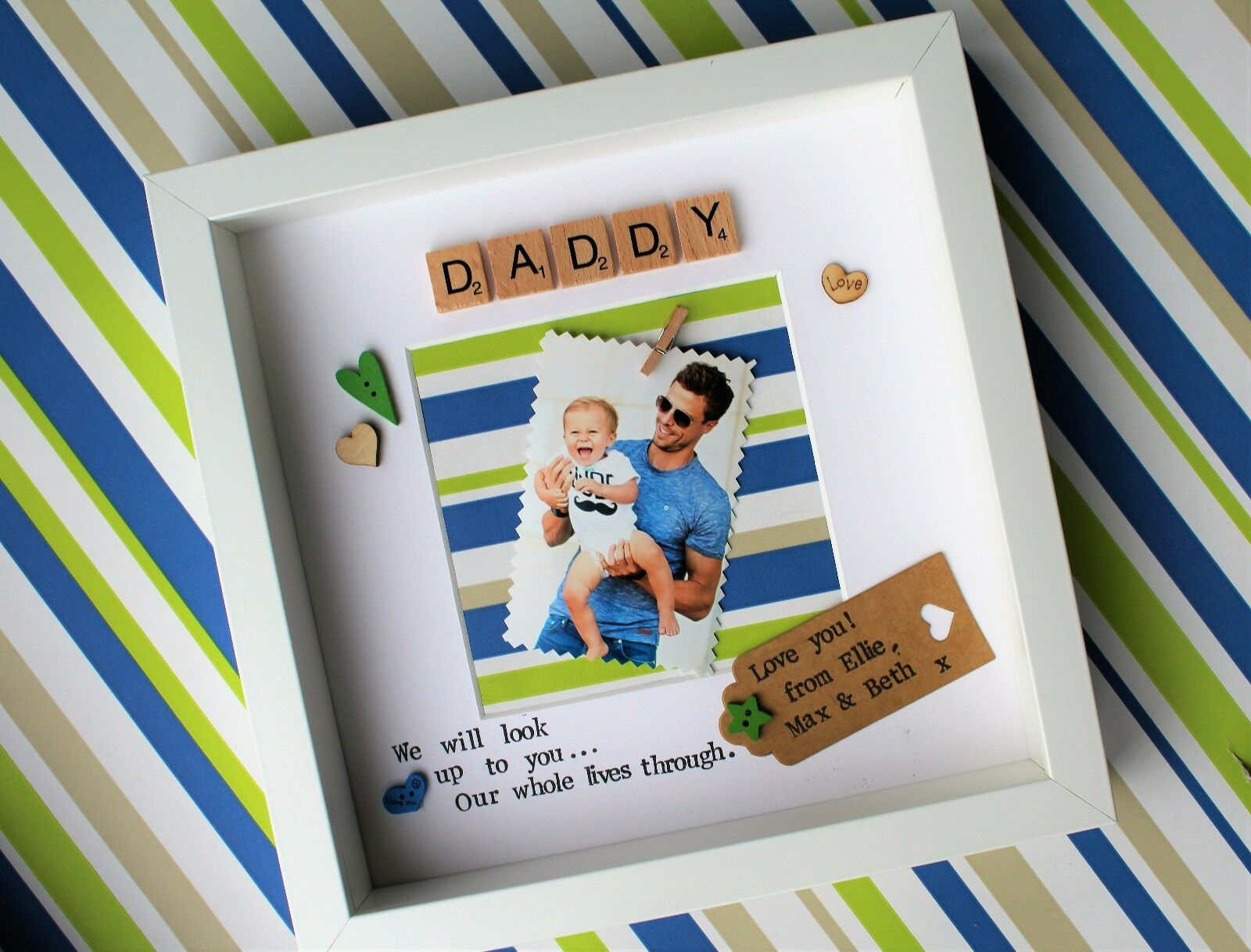 CHRISTMAS handmade personalised gift photo frame dad grandad birthday present ntrghx7680-Other Celebrations & Occasions
