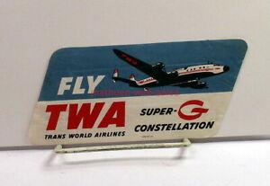 Luggage Sticker/Label~Trans World Airlines/TWA~Vtg 1960s~Super-G Constellation